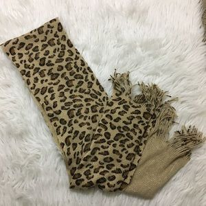 Sparkly knit Cheetah Print Scarf with Fringe